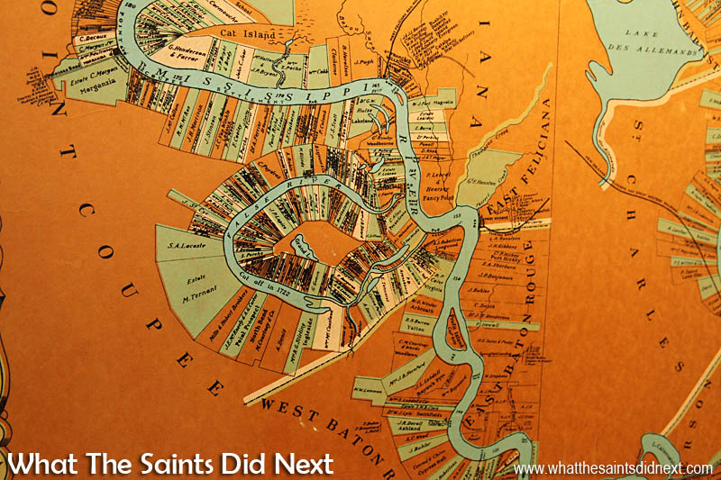 The colourful map of False River and the Mississippi, displayed inside the museum.