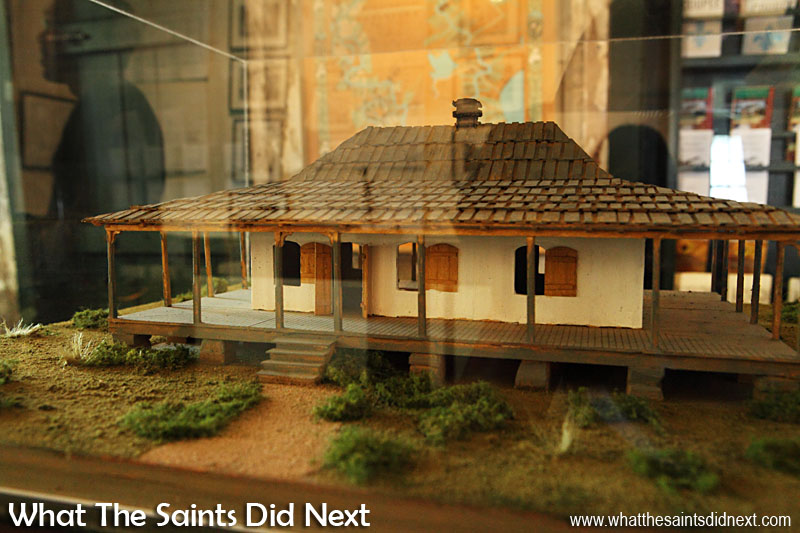 Model of the original Creole cottage, now the Pointe Coupee museum and tourist centre. The building is architecturally significant because it is a rare example of a log cabin type construction in a Creole type house. The original portion of the house dates from the early 19th century.