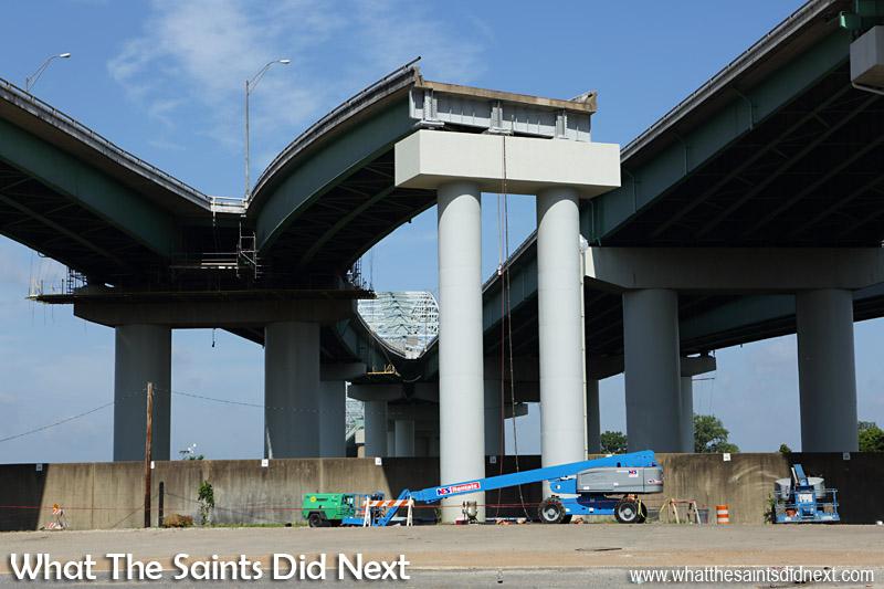 Road works at the end of the Hernando De Soto Bridge.