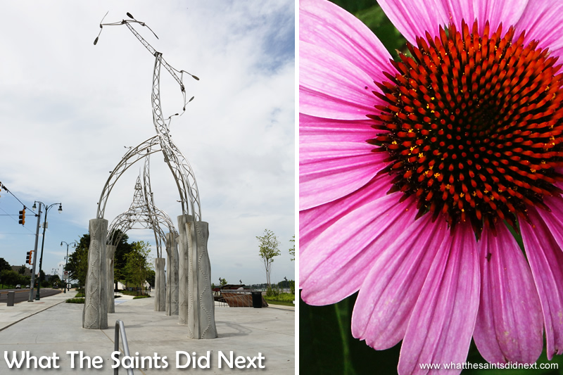 Modern art and flowers on the riverfront.
