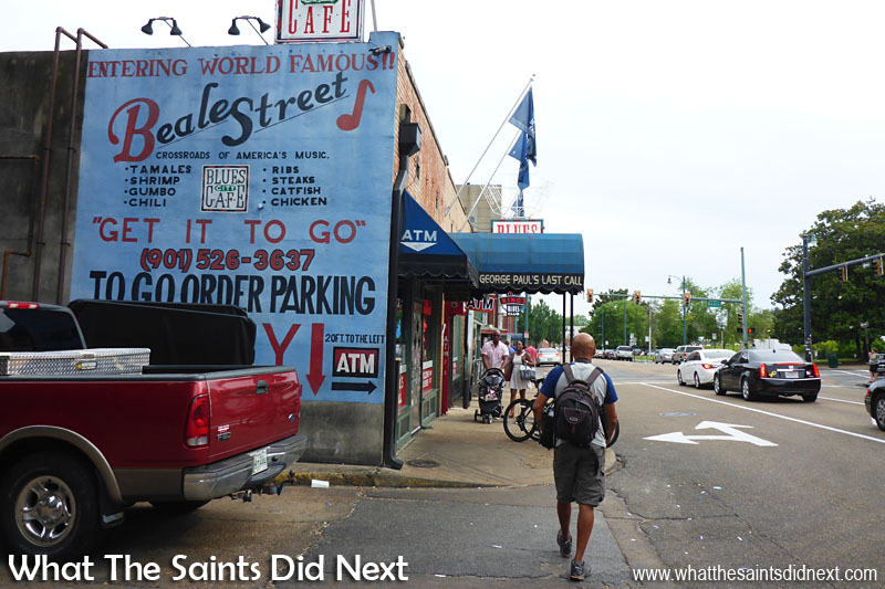 Walking into Beale Street, Memphis, Tennessee.