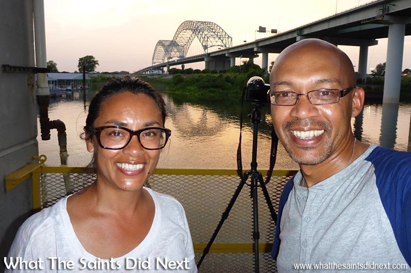 Photographing the Hernando De Soto bridge at sunset, in Memphis, Tennessee. It's been a long day.