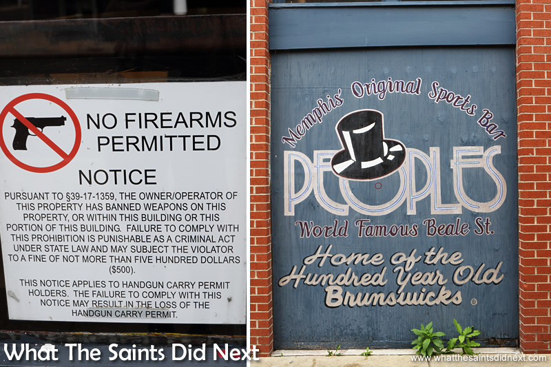 The colourful mural style signs are brilliant, but it still feels strange seeing the 'No Firearms' signs on shop doors.