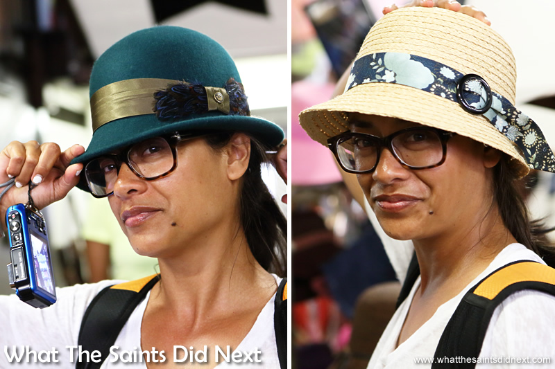 All the different hats in the shop were just too tempting for Sharon!