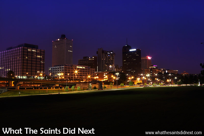 Memphis, Tennessee at night. Looking back toward the city from the top of the floodwall.