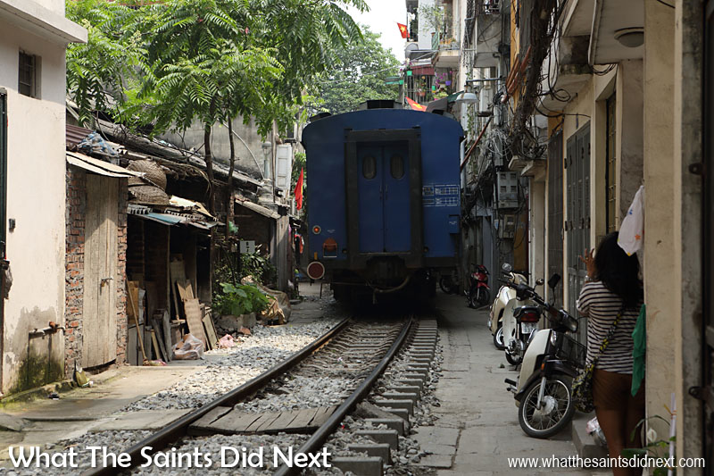 The back of the train as it rumbles away heading for Ho Chi Minh.
