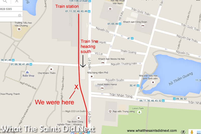 The route of the train and our position along the track. (GoogleMaps)