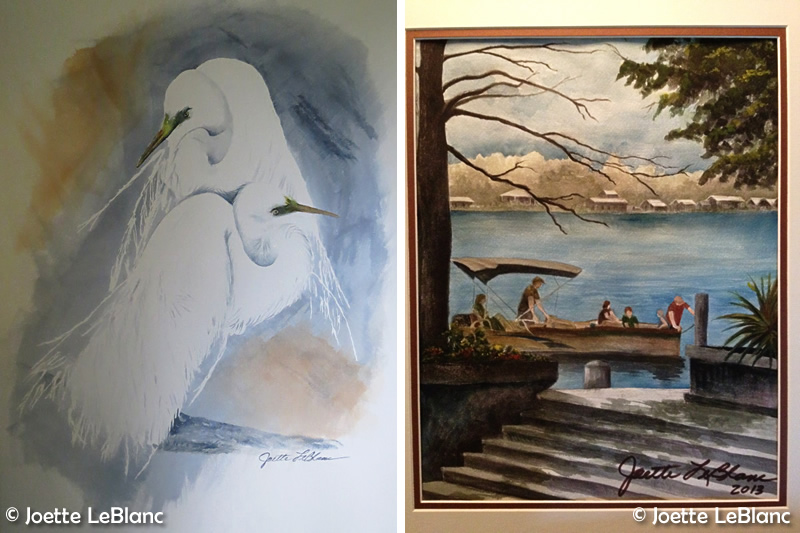 Paintings by Joette. Left, 'Love Mates' and right, 'Family Ties.'
