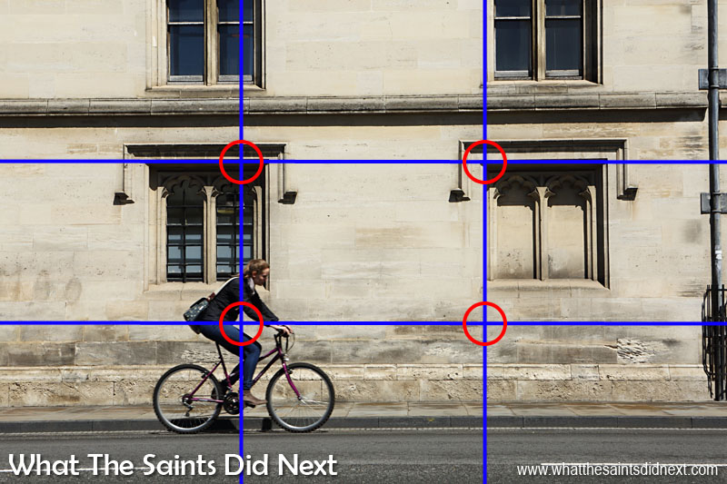 Photography's Rule of Thirds - helps enormously with composing this picture of a cyclist in Oxford, UK.