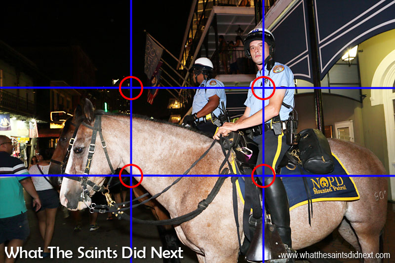 Not much scope for reframing when relying on the flash, but this composition worked out quite well of a mounted policeman in New Orleans.