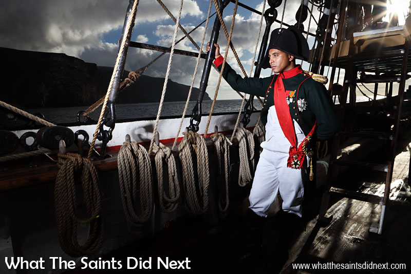Re-enactment of Napoleon's arrival at St Helena in 1815 on HMS Northumberland, portrayed by local actor, Merrill Joshua. This shoot took place onboard the Picton Castle, a visiting bark that kindly allowed us use of their upper decks for an afternoon.