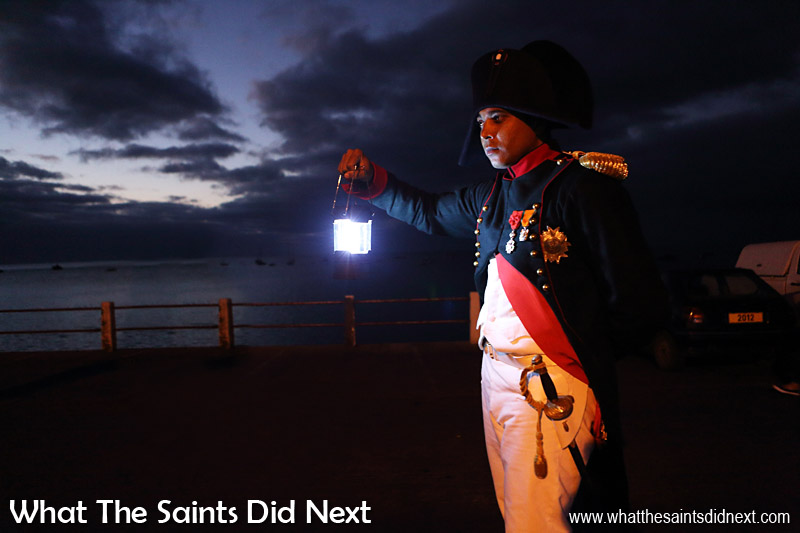 St Helenian, Merrill Joshua as Napoleon Bonaparte, making his way along the sea front to Porteous House in Jamestown as part of the bicentenary re-enactment of the 1815 arrival.