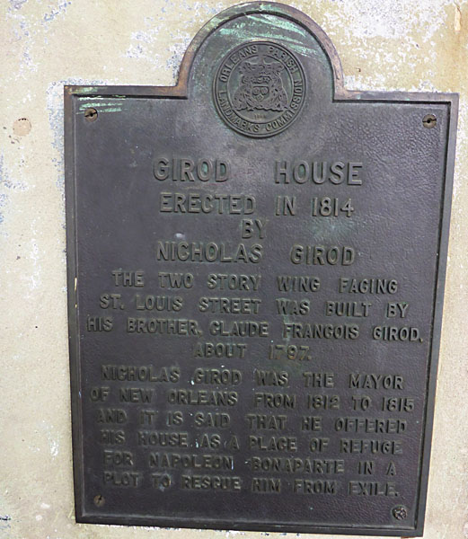 The plaque on the side of Napoleon House in New Orleans.