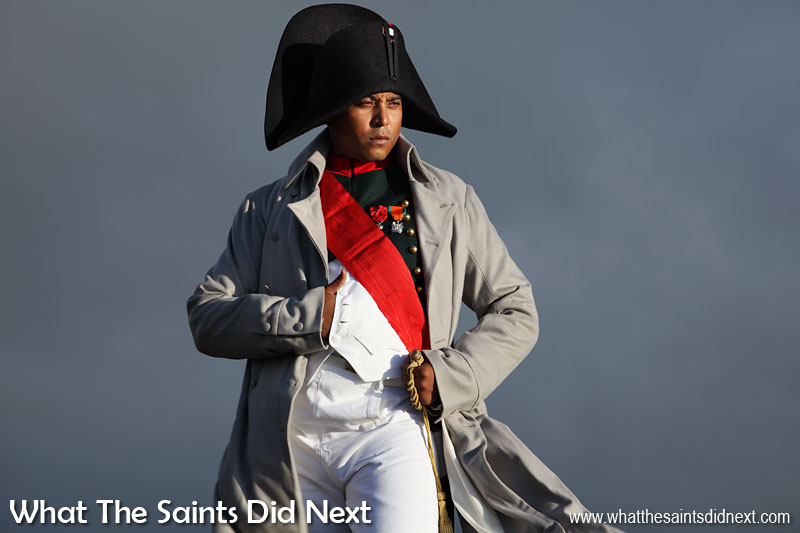 The Saint Napoleon: Our photo shoot with Napoleon 200 years on! This Napoleon however, has obvious physical differences to the 'real' one. It was shot at High Knoll Fort and lit by the afternoon sun. The dark natural backdrop rather appropriately reflects the imprisoned emperor's mood.