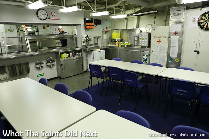 An unofficial seating etiquette has developed in the Senior Ratings mess with chief petty officers generally seated at one table, petty officers at the other.