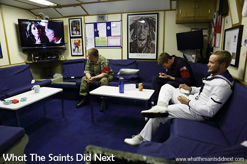 Inside the junior ranks recreational lounge. Each lounge includes its own TV, DVD and Hi-Fi.