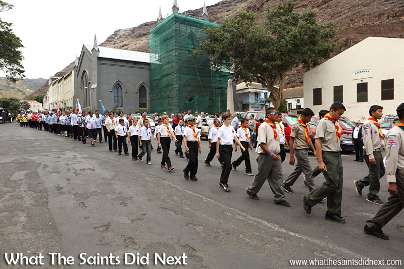 St Helena's uniformed youth groups making the traditional march to the cenotaph at the sea front for the start of the Remembrance Day 2015 service.