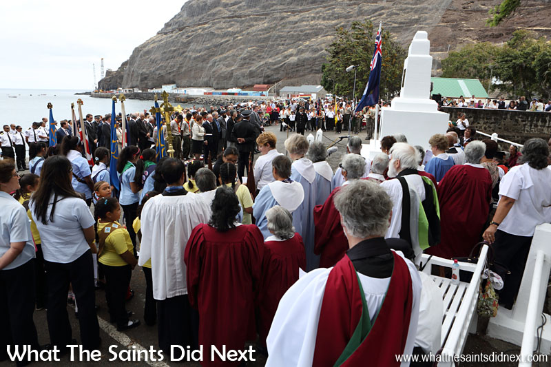 The annual Remembrance Day service on St Helena usually takes place in front of the cenotaph on the sea front. Different churches come together to conduct the service. The island's uniformed groups of all ages normally attend. St Helena government is represented by His Excellency, The Governor, as well as members of Legislative Council and other government officials. Finally, members of the public turn out in good numbers every year. This year's service was held on Sunday 8 November, 2015.
