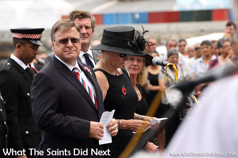 St Helena Governor Mark Capes and Mrs Tamara Capes at the service.