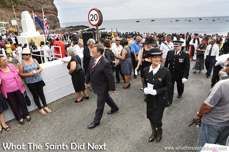 St Helena, Remembrance Day 2015. At the end of the service, Governor Capes along with everyone else makes his way to the Grand Parade for the march past of the uniformed contingents.