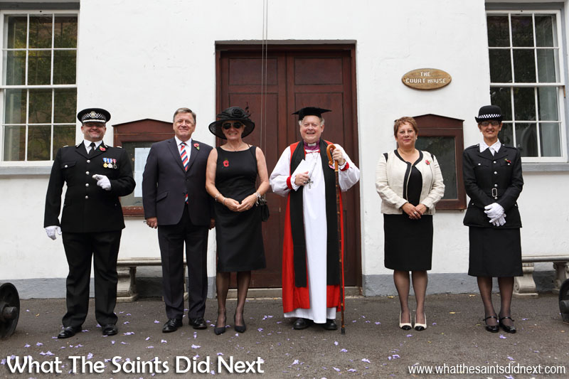 St Helena, Remembrance Day 2015. Ready on the Court House steps to receive the march past. From left, Chief of Police, Trevor Botting; Governor Mark Capes and Mrs Tamara Capes; Bishop Richard Fenwick; Fondation Napoleon Representative, Susan O'Bey; Aide de Camp, Debbie Stroud.