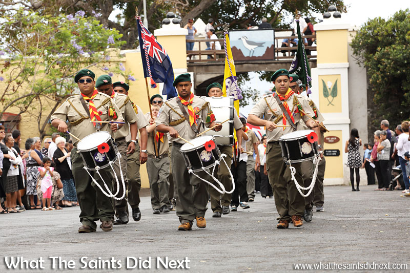 St Helena, Remembrance Day 2015. The scouts' marching band.