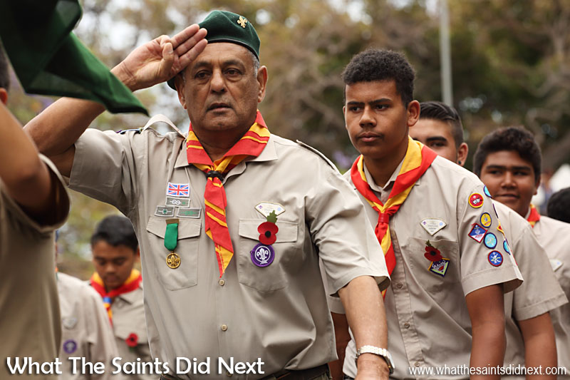St Helena, Remembrance Day 2015. Scouts and scout leaders on parade.