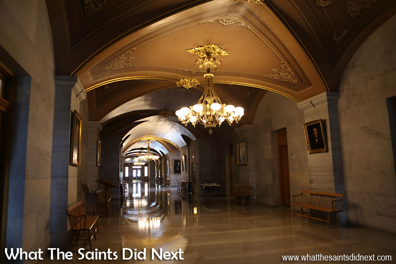 Gleaming hallways of the Tennessee State Capitol.