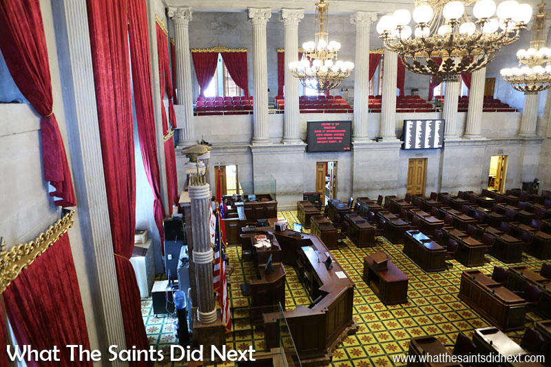 To be eligible for election as a representative in Tennessee you need to have lived in your district for 3 years and be at least 21 years old. Those are the only requirements. Each person elected to the house is assigned a desk in this room and serves a 2 year term. Cameras televise proceedings for Tennesseans who want to follow the business of the day but are unable to make it to the State Capitol.