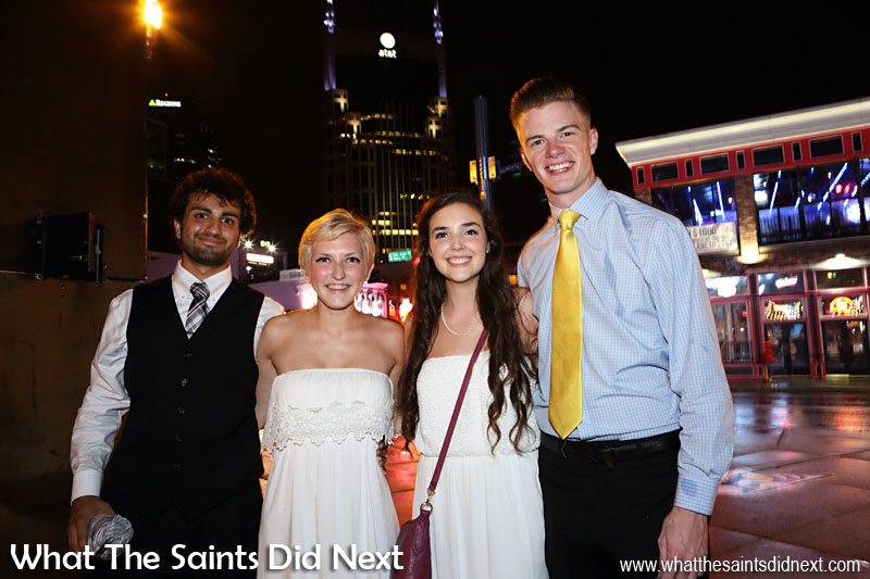 Ron, Sam, Jessica and Dillon heading home from a wedding reception on a rainy night in Nashville.