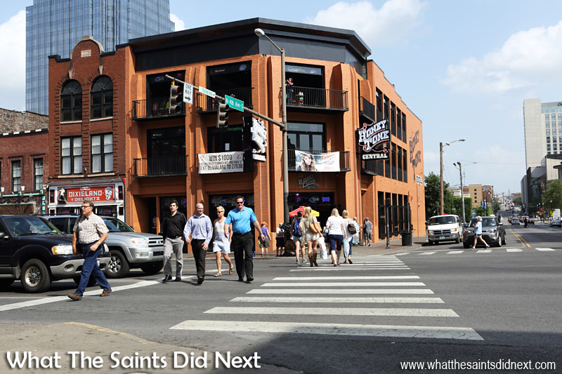 Honky Tonk Central on a very busy intersection on Broadway in Nashville.