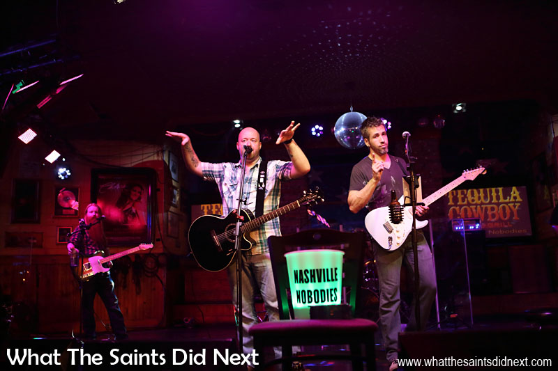 The Nashville Nobodies, (Wesley Cash and Travis Bishop) putting on a show in the Cadillac Ranch honky tonk on Broadway.