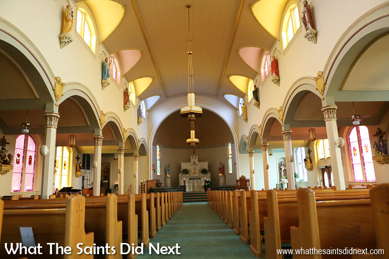 Inside St Jerome's Catholic Church, Kentucky, this present church dedicated in 1893. St Jerome settlers were mainly descendants of Maryland Catholics from Washington Co., Ky.