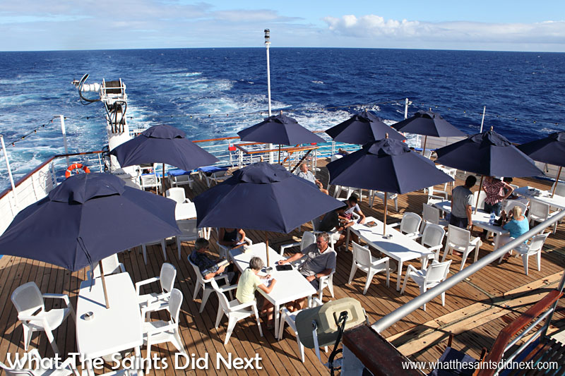Canon 5D-MKII: 08:33, 1/320, f/11, ISO-200. Early morning on the sun deck of the RMS St Helena on voyage to Cape Town. Early morning light at its best giving a nice balance between the foreground detail and the sky. The long shadows are clearly visible in this picture.