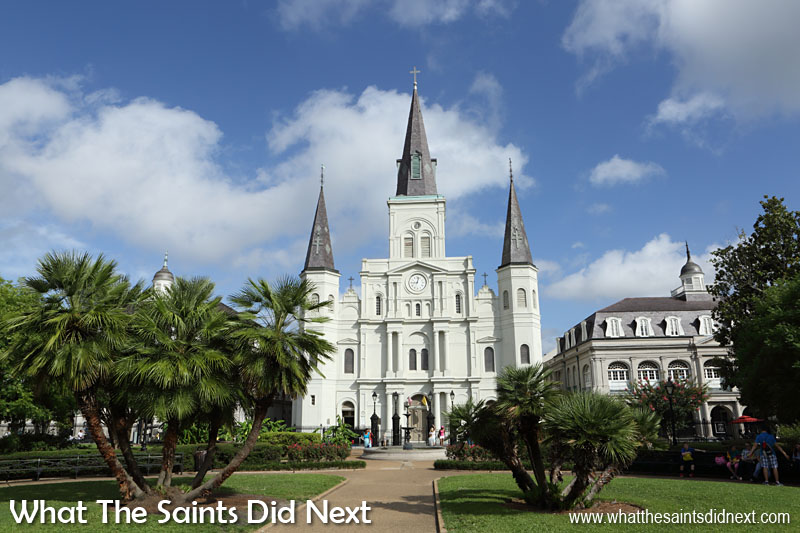 Canon 5D-MKIII: 09:02, f/250, f/16, ISO-200 St Louis Cathedral in the French Quarter of New Orleans. Summer in the US you really need to get our early for photography as the sun gets high in the sky very quickly. We just about made it in time to photograph this beautiful cathedral. A little later and the white facade would have reflected the sunlight so intensly that the foreground/background balance would have been lost.