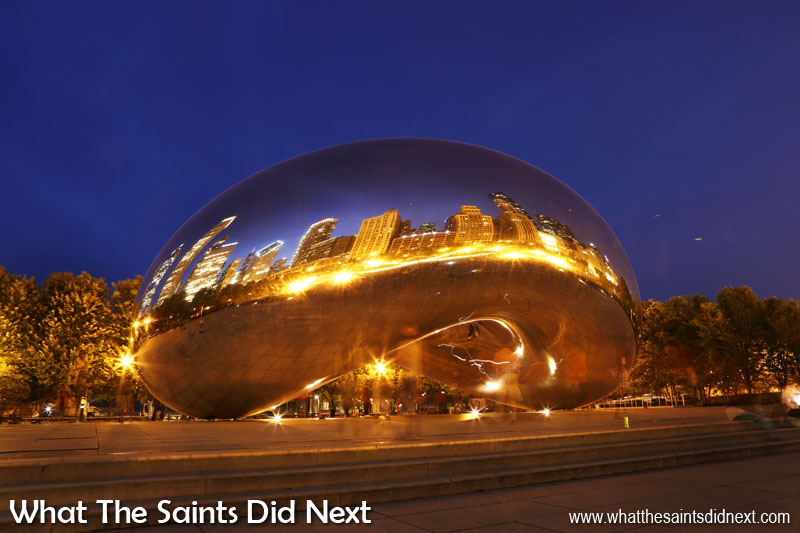 Kapoor's Cloud Gate sculpture has affectionately been dubbed, 'The Bean' because of its shape. Finger and hand prints are cleaned from the lower portion of 'The Bean' twice a day, simply by wiping it down. Twice a year the complete sculpture is cleaned using 40 (US) gallons of liquid detergent.