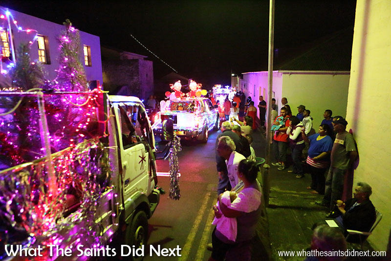 St Helena Festival of Lights 2015 - Jamestown residents turn out to watch the parade go by.
