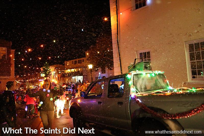 St Helena Festival of Lights 2015 - The snow machine lends a little winter feel to the parade.