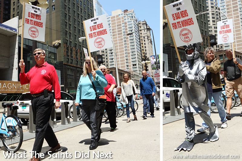 Protesting for a fair contract from Fox. Ed leads the line (left), which includes their rat mascot.