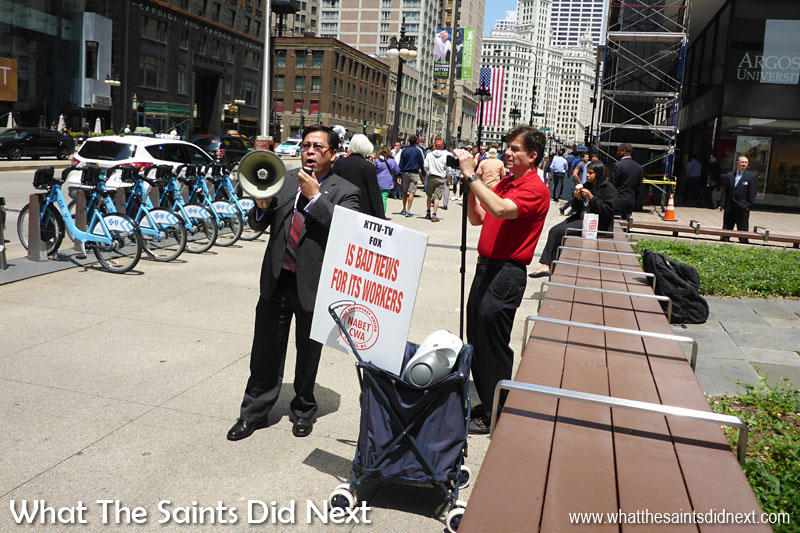 Don Villar, president of the local 41 broadcast union in Chicago, joins the protestors outside Fox32.