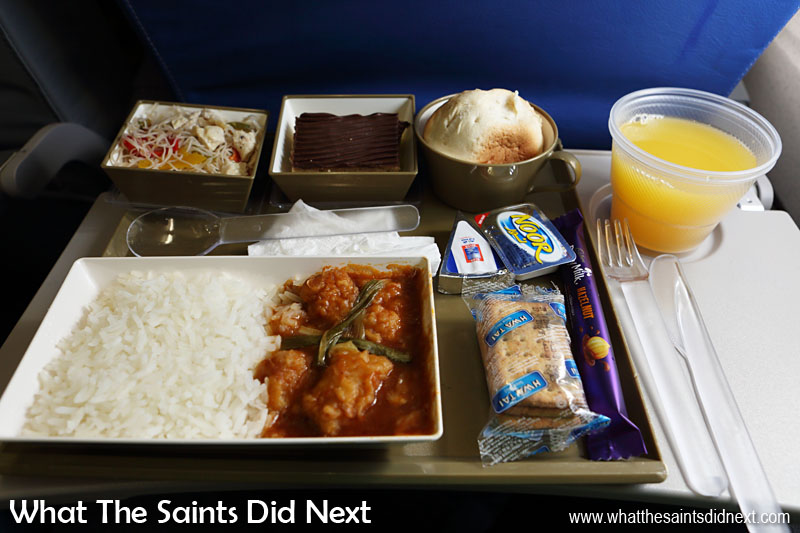 Ok, so in flight meals on a tray may not make most people's memorable food list, but when you come from St Helena like us which is only just getting an airport (still not operational) then flying is still quite a novelty, and the meal is all part of the experience! This is dinner onboard our Gulf Air flight to Bangkok and I have to say, I quite enjoyed it!