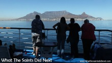Passengers onboard the RMS St Helena, arriving in Cape Town, South Africa.