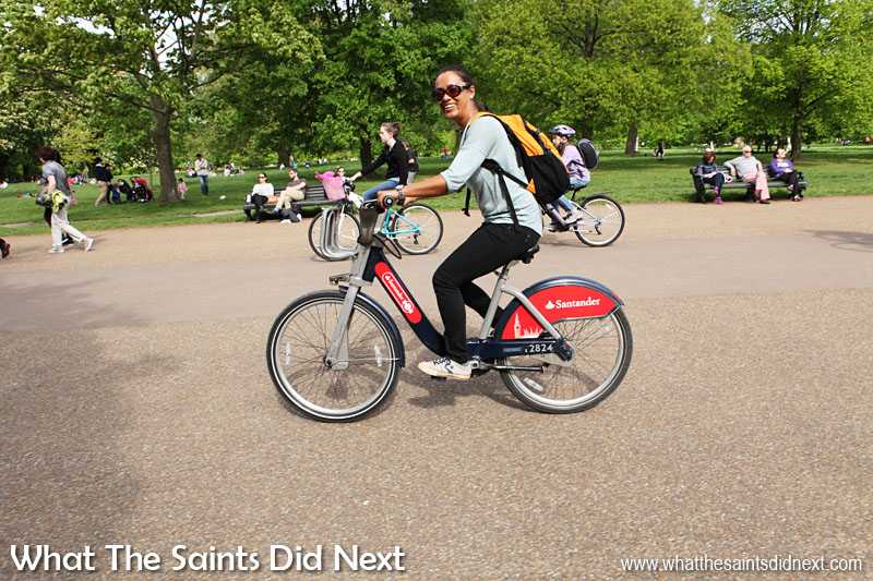 Most major cities in the world seem to have bicycle rentals that can be taken out in half and hour segments or longer. This is Sharon in Hyde Park on one of the London bicycles, affectionately called 'Boris bikes' after the city's mayor. Although these were good fun in the park we would not feel confident taking this onto the streets and sharing space with London's traffic.