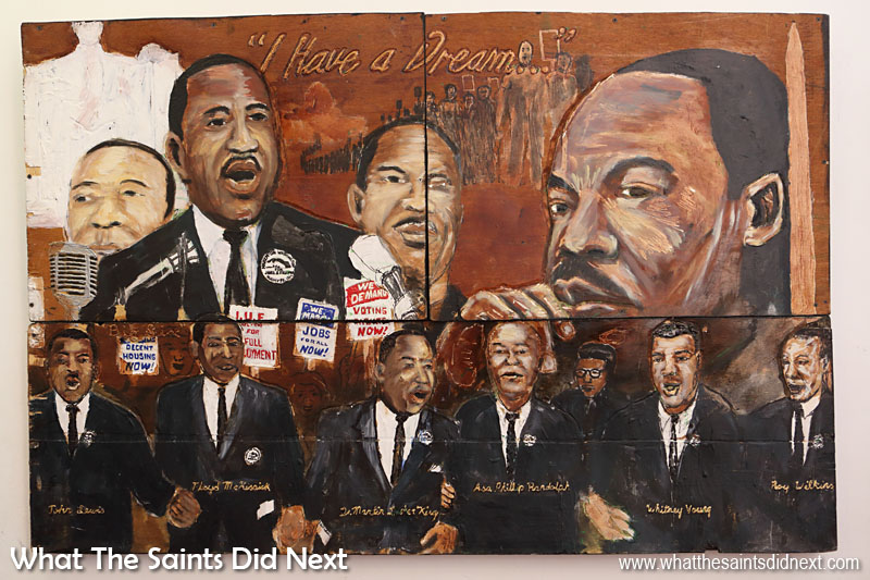 A painting inside The Historic Ebenezer Baptist Church, on Auburn Avenue, the spiritual home of Dr Martin Luther King, Jr.