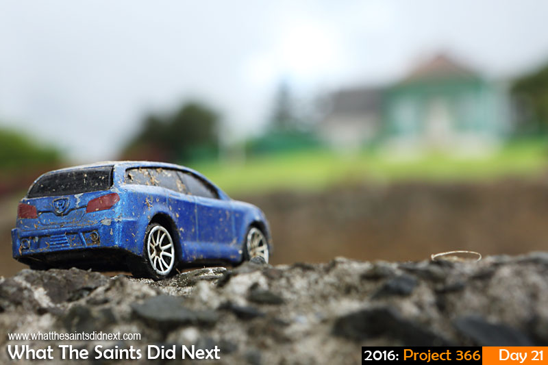 'Lost' 21 Jan 2016, 17:40 - 1/80, f/11, ISO-400 What The Saints Did Next - 2016 Project 366 Abandoned toy car on the wall near Longwood House, St Helena.