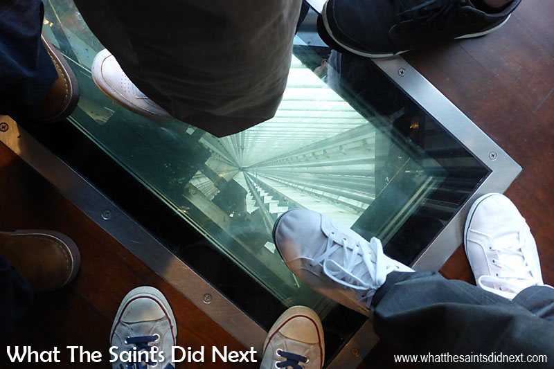 The CN Tower claims North America's first and the world's highest glass floor panelled elevators which present a thrilling perspective on the view 346m (1,136 feet) straight down. The elevator rides takes 58 seconds to reach the Lookout. Six of the CN Tower's elevators are glass-fronted so you can enjoy the view going up and down.
