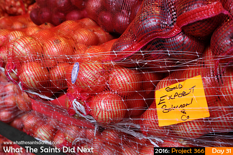 'Waiting in the wings' 31 Jan 2016, 06:47 - 1/60, f/5.6, ISO-800 What The Saints Did Next - 2016 Project 366 Onions being imported to St Helena.