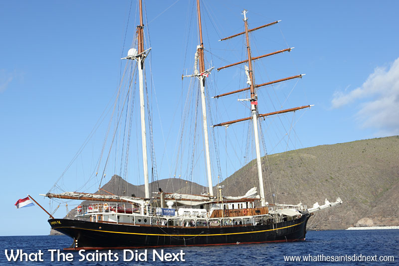 Dutch Tall Ship Gulden Leeuw (Golden Lion). Built 1937, length 70.10m, beam, 8.6m, sail area 1400m2. Here she is anchored in James Bay, St Helena with the distinctive landmark of Sugar Loaf in the background.