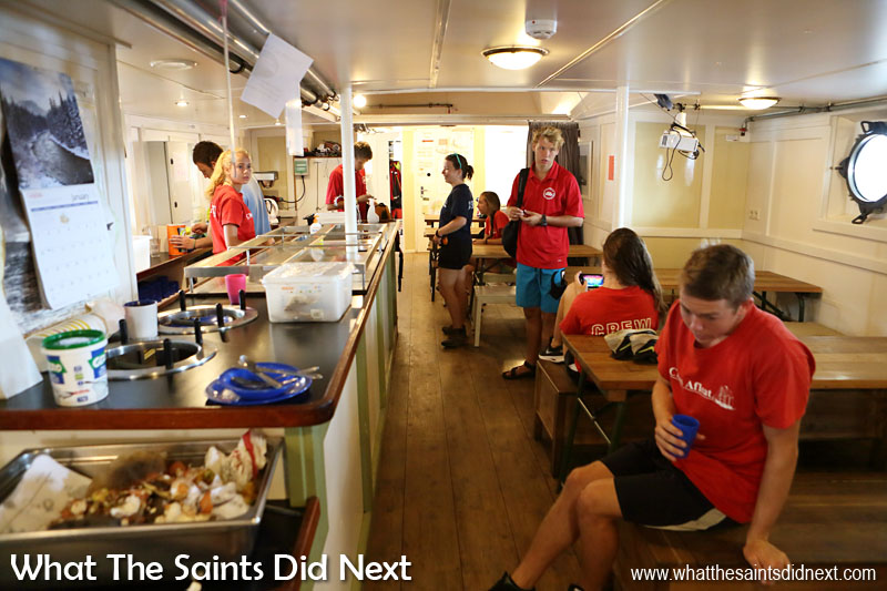 Inside the mess room. The Gulden Leeuw offers space for up to 200 passengers on day sails and for 60 trainees on longer voyages. Class Afloat - West Island College International offers internationally acclaimed academic programmes for Grade 11, 12, University and Gap year students.
