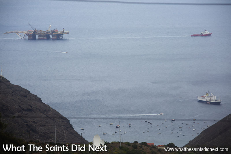 The view many islanders would have seen from St Helena - Skandi Admiral towing the large Castorol 7 across James Bay with the RMS St Helena at anchor. The small boat coming away from Castorol 7 is actually us, the Gannet Three having already delivered the grocery order.
